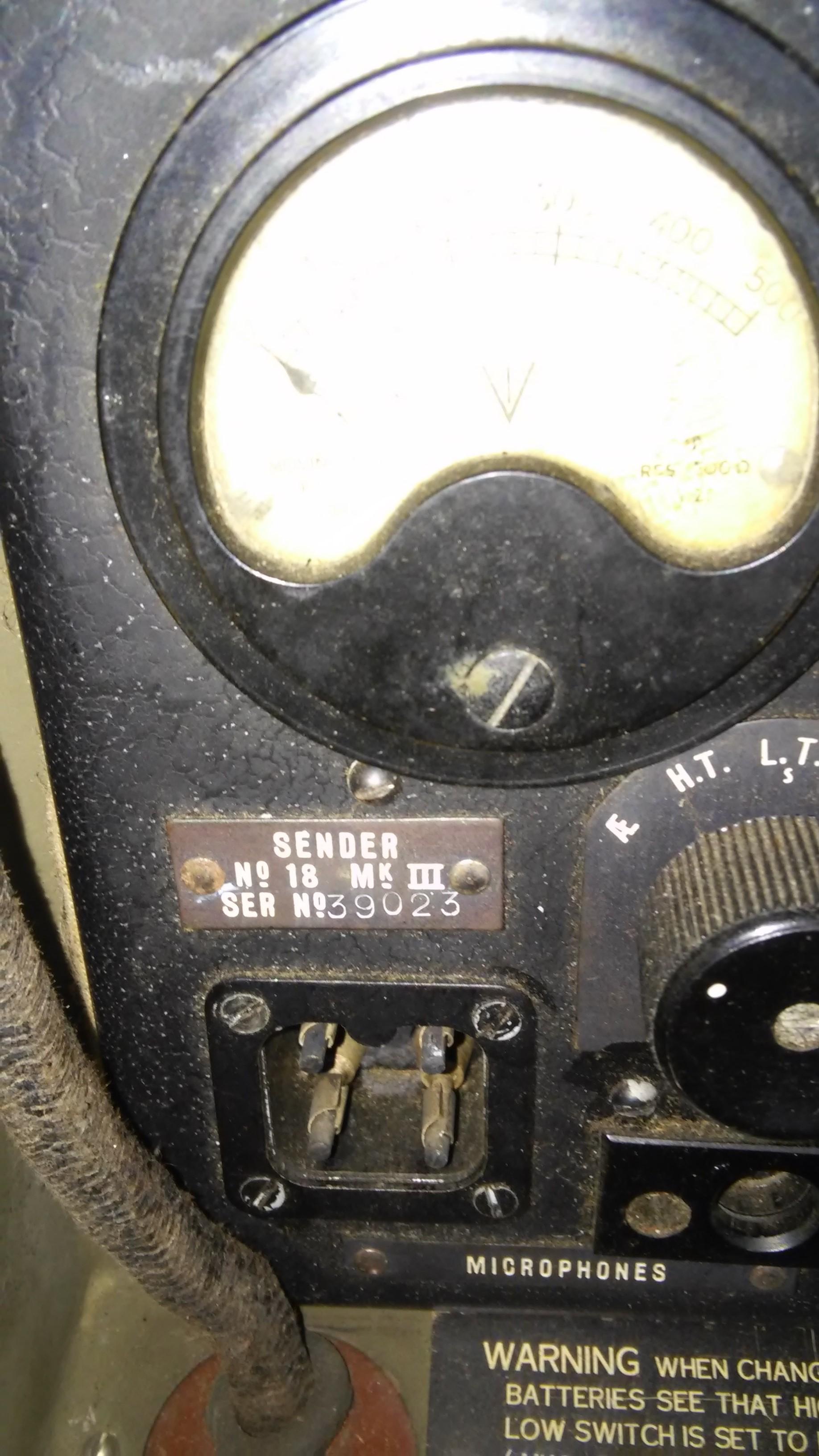 Wireless Set 18, Sender Serial Number